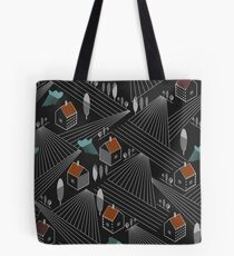 Rural landscape with houses and agriculture fields Tote Bag