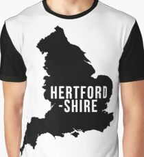 Hertfordshire, England UK Silhouette Map Graphic T-Shirt