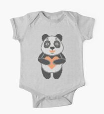 Panda in style embroidery. Panda and heart. One Piece - Short Sleeve