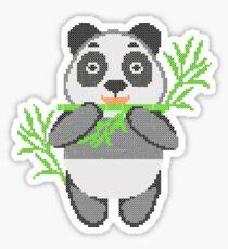 Panda in style embroidery. Panda eating bamboo. Sticker