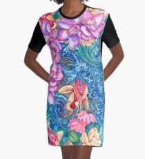 Orchid Splash Graphic T-Shirt Dress