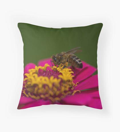 Zinnia Bee Throw Pillow