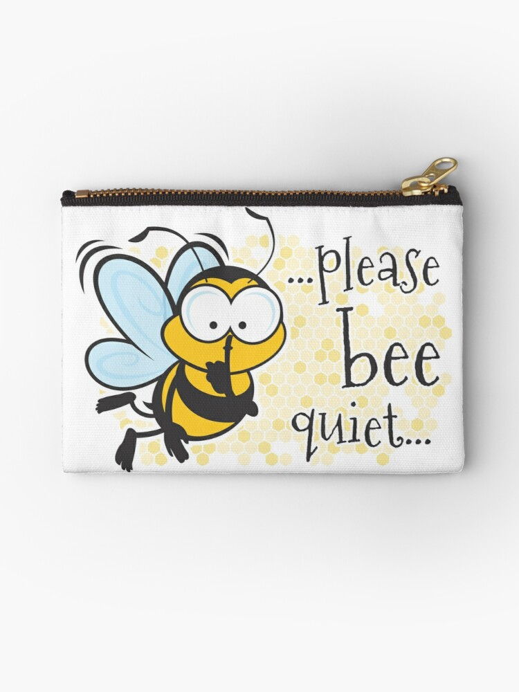 please be quiet bee studio pouches by jamieleeart redbubble
