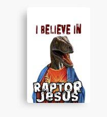 I believe in Raptor Jesus Canvas Print