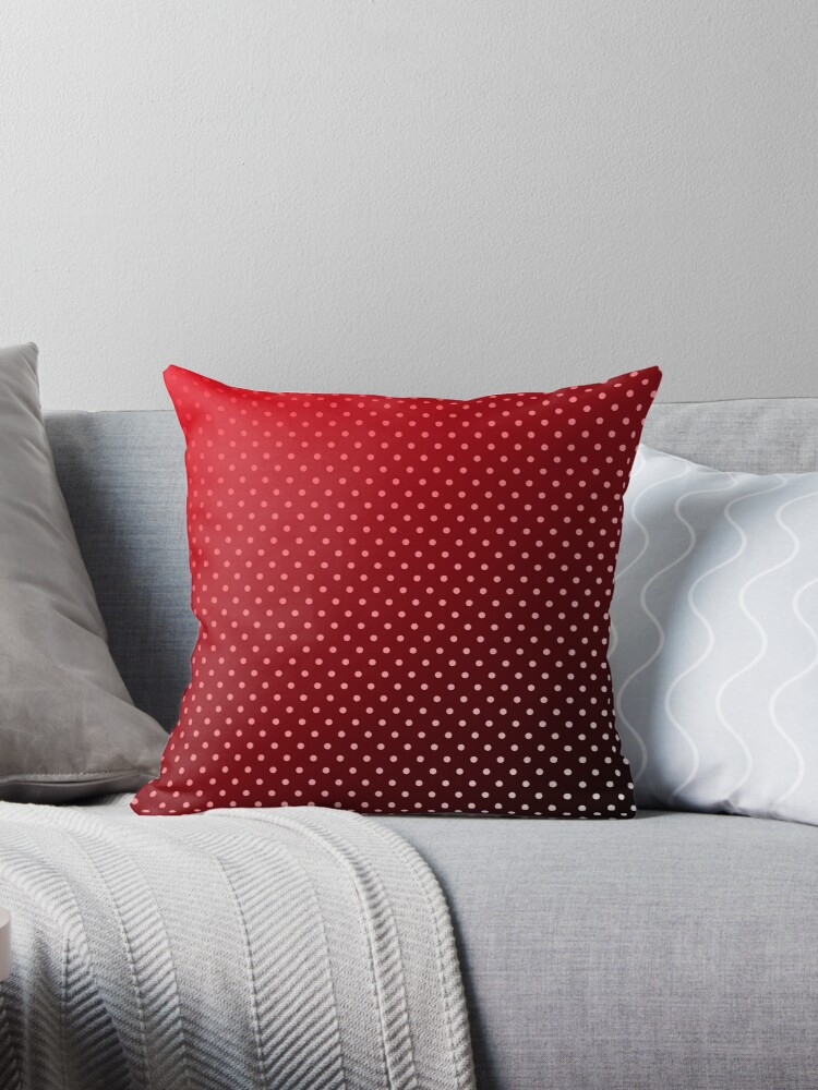 Carmine Red White And Black Faded Polka Dots Throw Pillows By