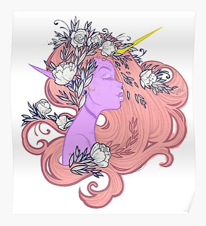 Horned Floral Fairy Poster