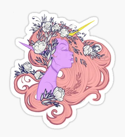 Horned Floral Fairy Sticker