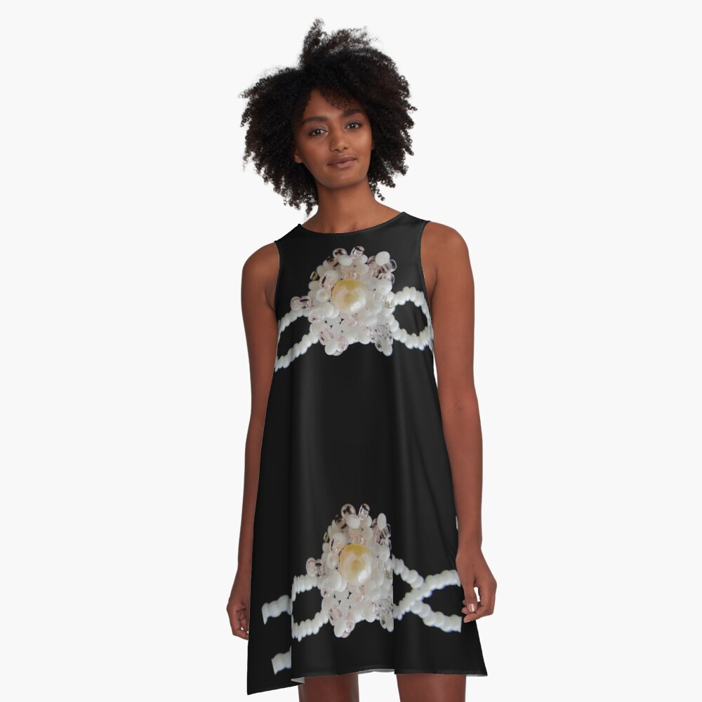 Floral black and white pattern A-Line Dress