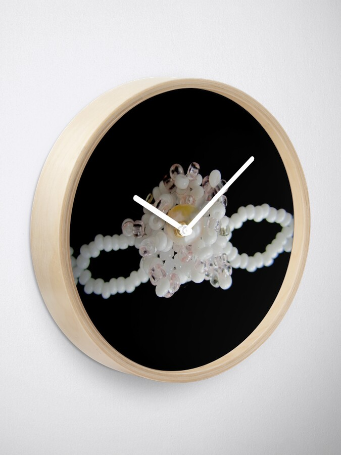Alternate view of Floral black and white pattern Clock