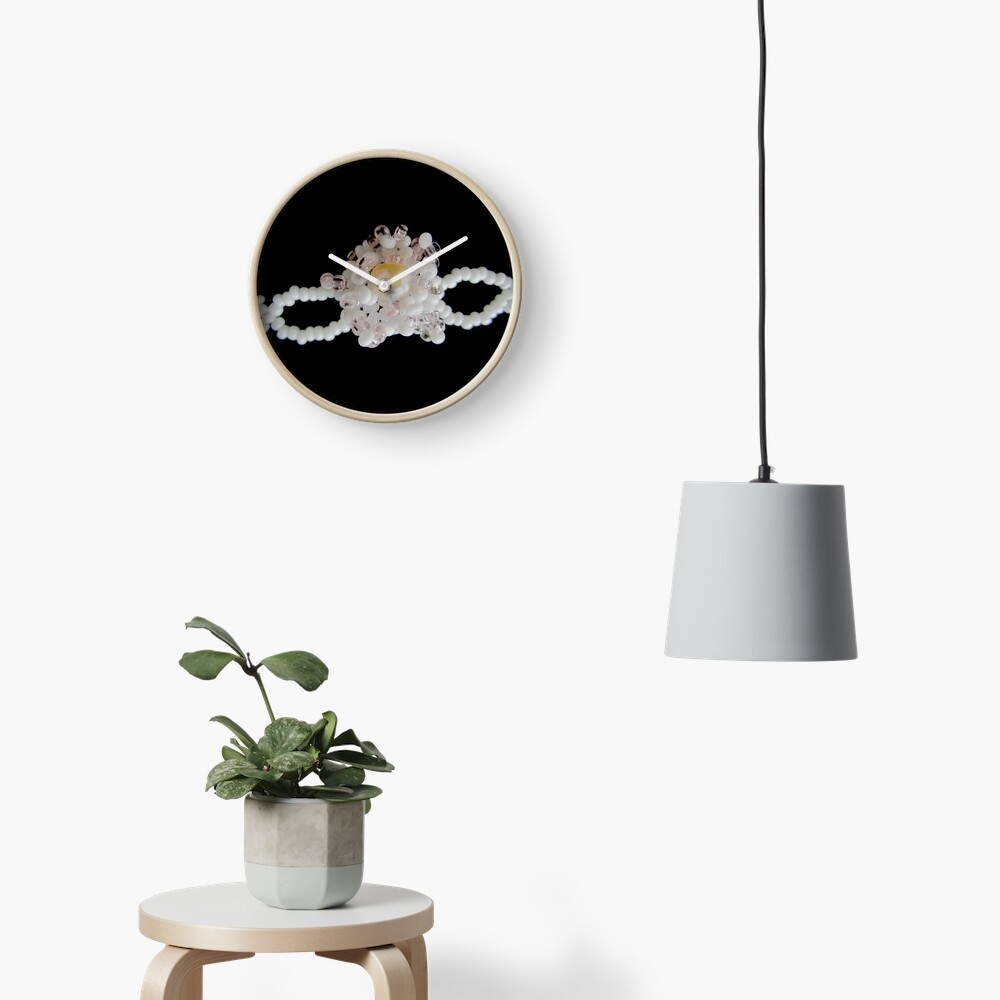 Floral black and white pattern Clock