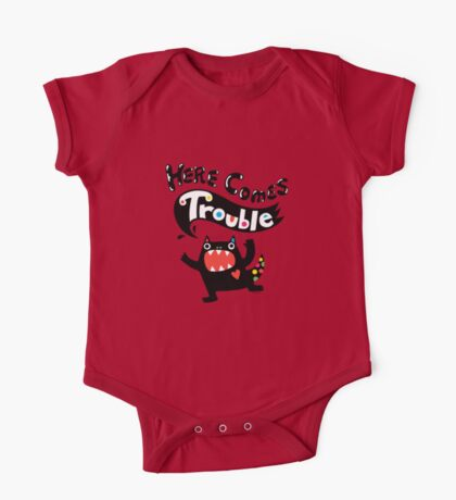 Here Comes Trouble - black monster Kids Clothes