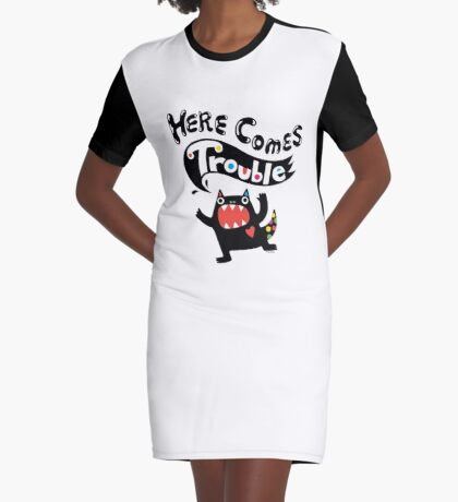 Here Comes Trouble - black monster Graphic T-Shirt Dress