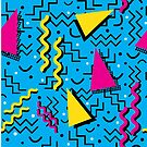 Funky Memphis Pattern on Cyan by Stacey Lynn Payne