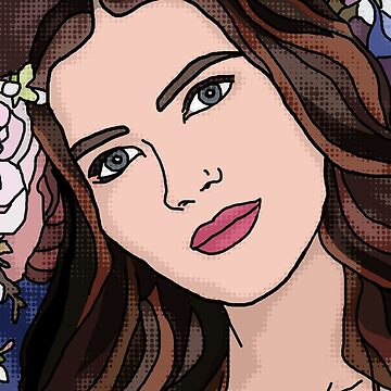 Brunette Girl Portrait with Spring Flowers on Blue  by BeeFoxTree