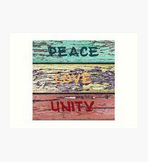 peace, love and unity lattice Art Print