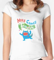 Here Comes Trouble primary Women's Fitted Scoop T-Shirt