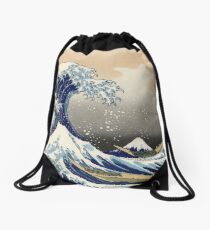 'The Great Wave Off Kanagawa' by Katsushika Hokusai (Reproduction) Drawstring Bag
