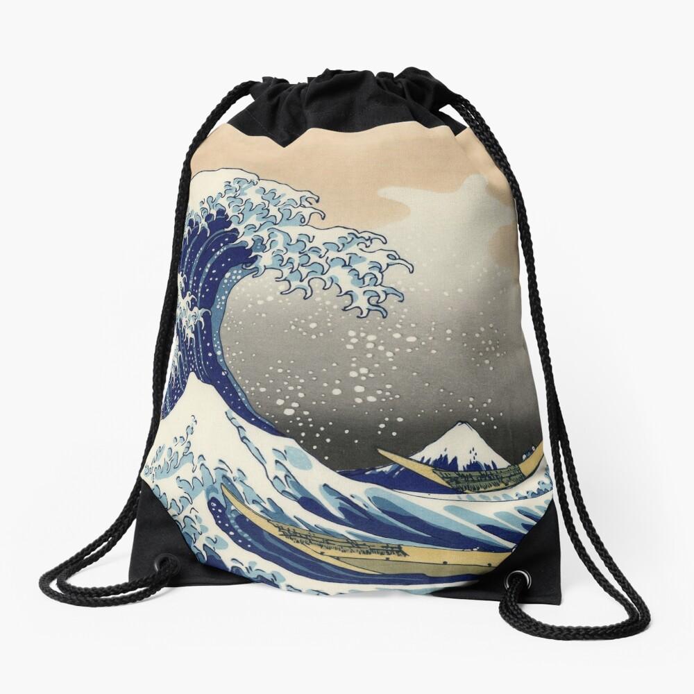 'The Great Wave Off Kanagawa' by Katsushika Hokusai (Reproduction) Drawstring Bag