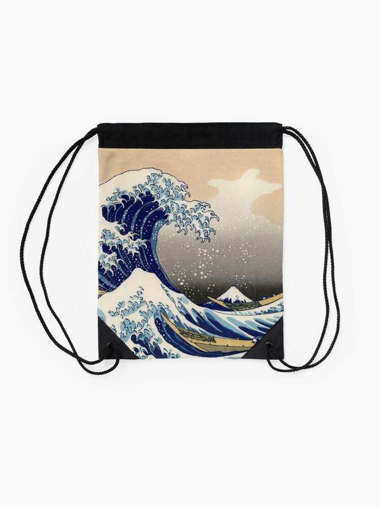 Alternate view of 'The Great Wave Off Kanagawa' by Katsushika Hokusai (Reproduction) Drawstring Bag
