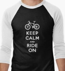 Keep Calm and Ride On mountain bike white fonts Men's Baseball ¾ T-Shirt