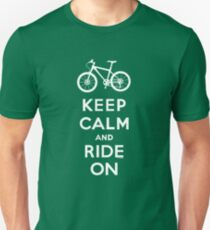 Keep Calm and Ride On mountain bike white fonts Unisex T-Shirt