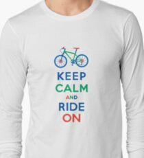 Keep Calm and Ride On - mountain bike - primary Long Sleeve T-Shirt