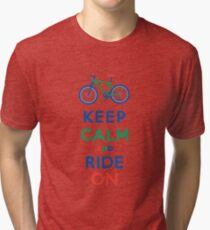Keep Calm and Ride On - mountain bike - primary Tri-blend T-Shirt