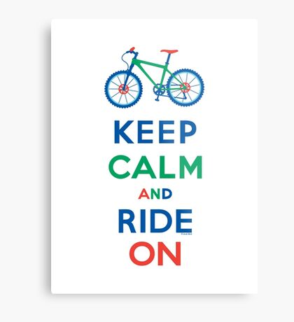Keep Calm and Ride On - mountain bike - primary Metal Print