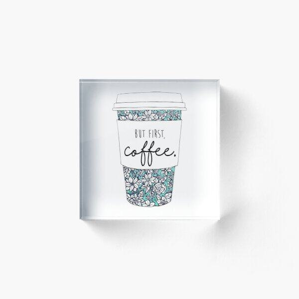 Floral Coffee Acrylic Block