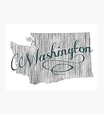 Washington State Typography Photographic Print