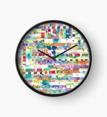Colorful Stripe Collage Clock