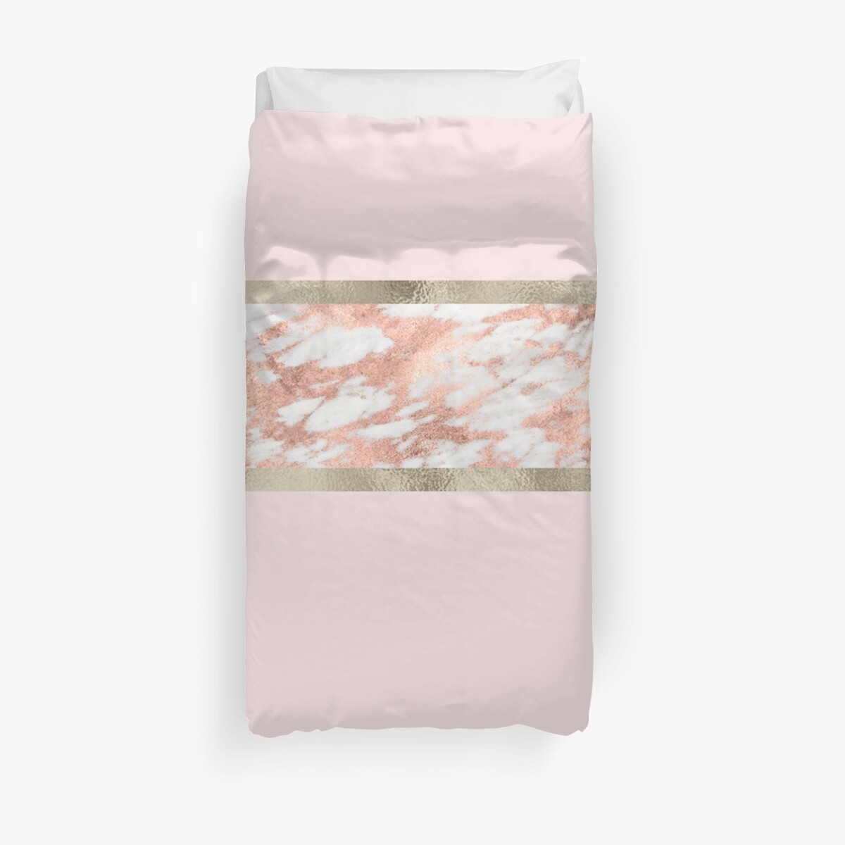 Quot Rose Gold Marble Modern Stripe Gilded Quot Duvet Covers By