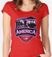 America First the Great Memorial Patriot  Women's Fitted Scoop T-Shirt