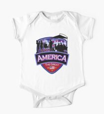 America First the Great Memorial Patriot  One Piece - Short Sleeve