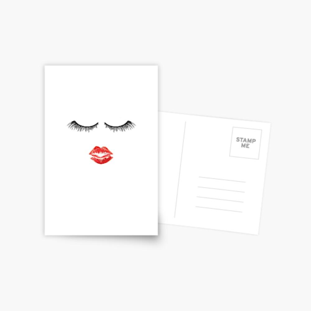 Nette Makeup Themed - Wimpern und Lippen Postkarte