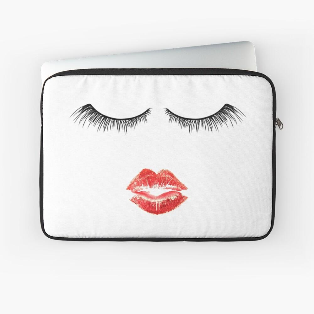 Nette Makeup Themed - Wimpern und Lippen Laptoptasche