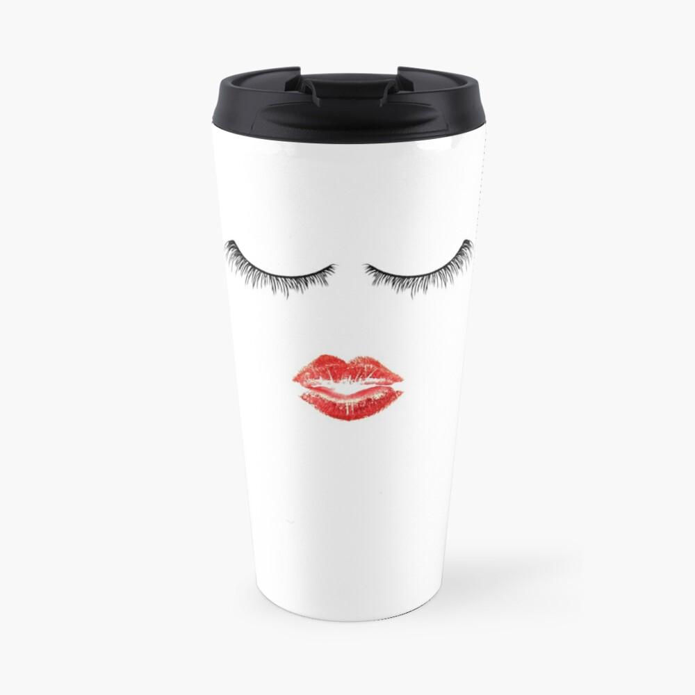Nette Makeup Themed - Wimpern und Lippen Thermobecher