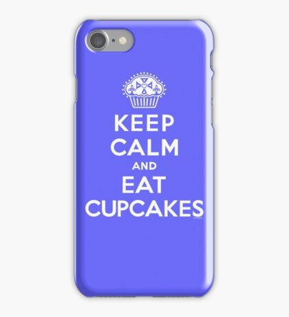 Keep Calm and Eat Cupcakes - white type iPhone Case/Skin