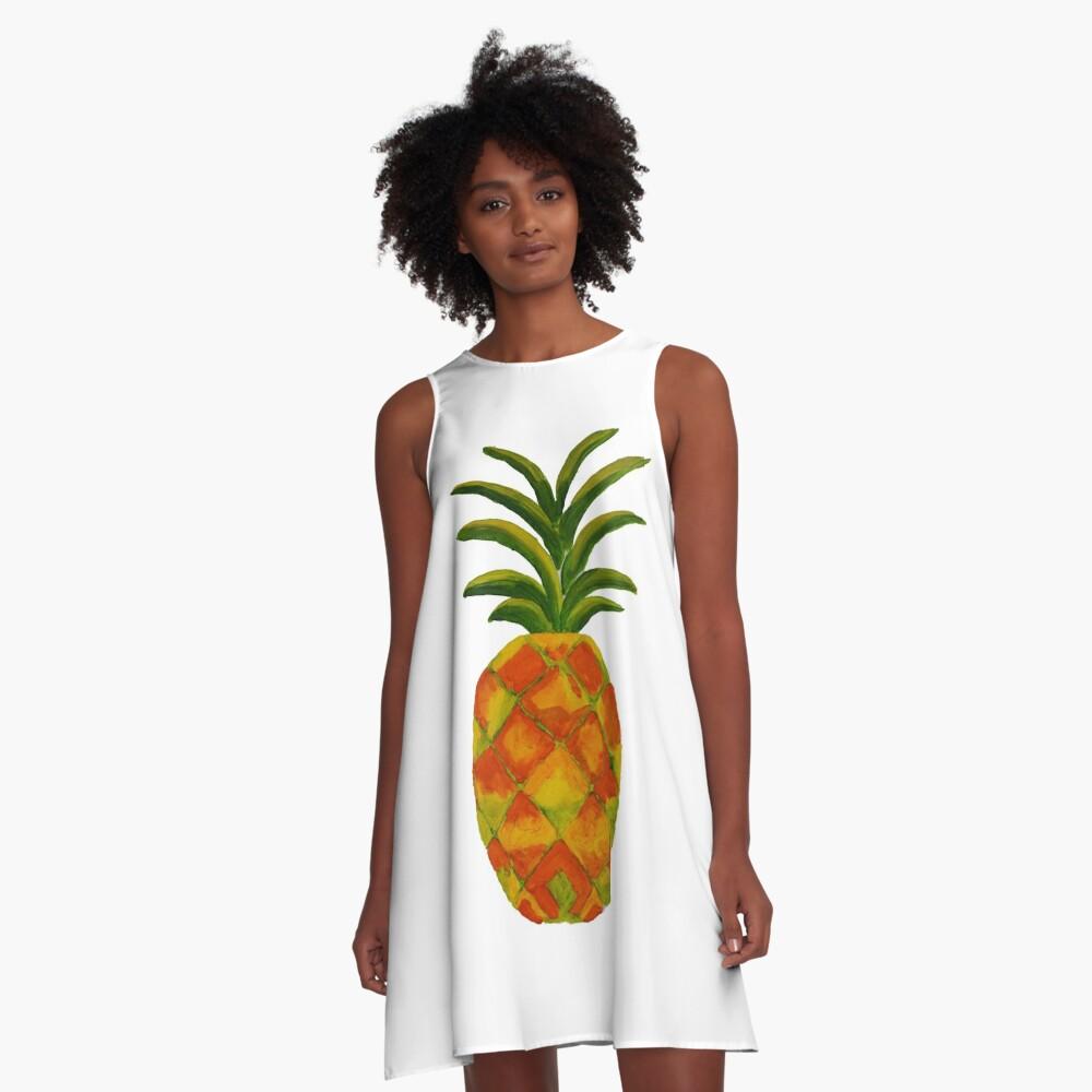 Golden Pineapple A-Line Dress