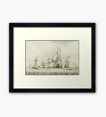 Dominic Serres,  A Squadron of the Fleet making ready to sail, probably from Spithead, the ships' Framed Print