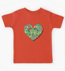 Artistic 3D Floral Heart  Kids Tee
