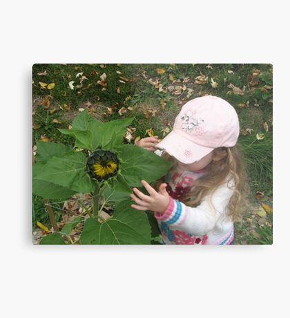 Hannah and her sunflower Metal Print
