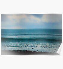 Taking Flight Seagulls on the beach Poster