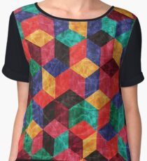 Colorful Isometric Cubes V Chiffon Top