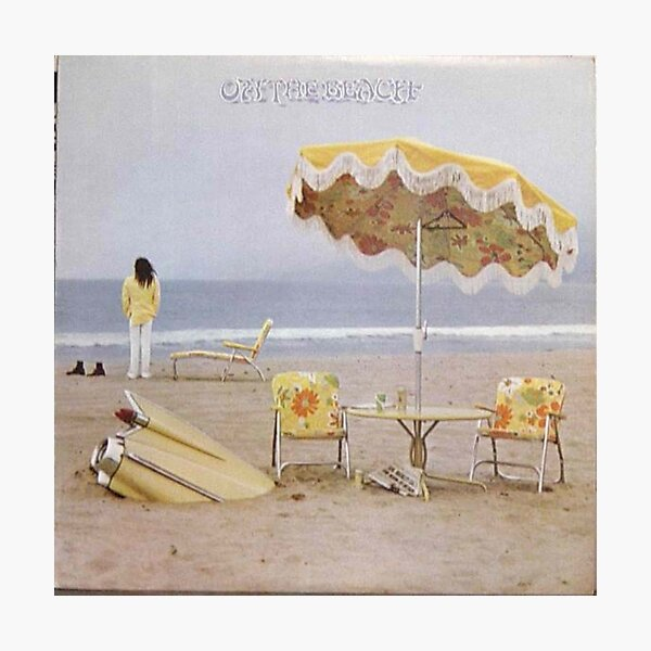 Neil Young On The Beach lp cover Photographic Print
