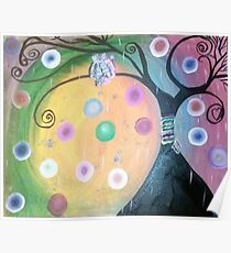 Owls on yarn wrapped tree Poster