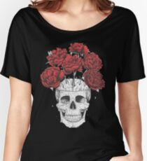 Skull with peonies on black Women's Relaxed Fit T-Shirt