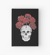 Skull with peonies on black Hardcover Journal