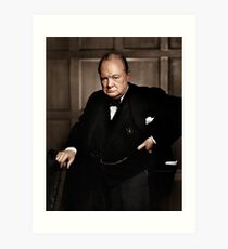 Winston Chruchill Fabulous Color Portrait WW2 Battle of Britain Art Print