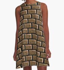 Pixel Backsteinmauer - 8 Bit A-Linien Kleid